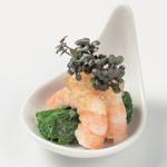 サラダ海老とわさび菜のお浸し